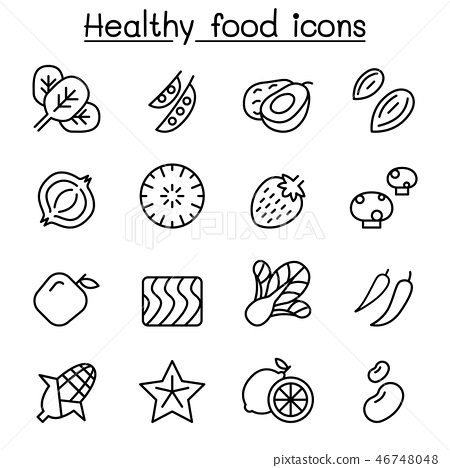 Healthy food icon set in thin line style 46748048