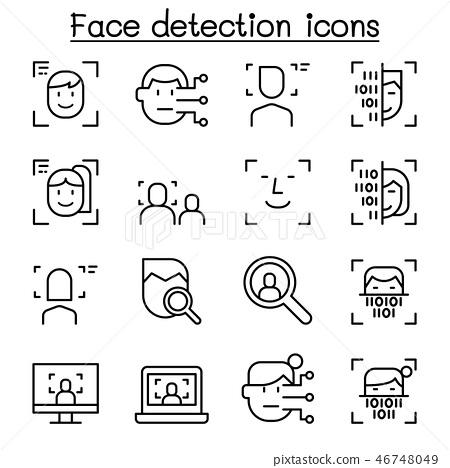 Face detection, Face recognition icon set  46748049