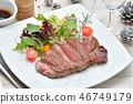 국산 검은 소 등심 (등심) 스테이크 (생고기). 시즈오카 현산 일본 흑소 쇠고기입니다. 46749179