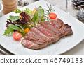 국산 검은 소 등심 (등심) 스테이크 (생고기). 시즈오카 현산 일본 흑소 쇠고기입니다. 46749183