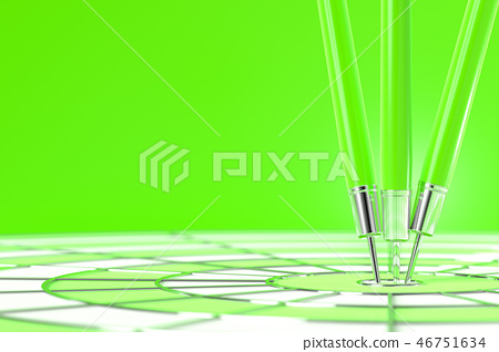 Darts hitting green color in the target 46751634