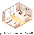 Vector isometric office reception desk interior 46752500