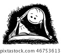 Cartoon of Man or Boy Reading a Book With Flashlight in Bed Under Blanket 46753613