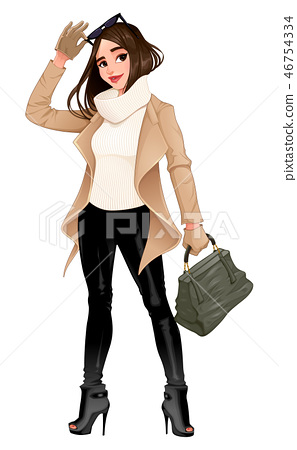 Fashion girl posing with sunglasses in her hands 46754334