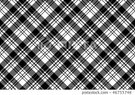 Pixel black white plaid seamless pattern 46755746