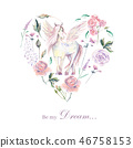 Set of hand painted watercolor plants, pegasus, roses, pastel co 46758153