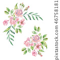 Set of Watercolor hand painted flowers, leaves and plants. 46758181