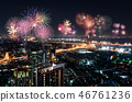 Cityscape with fire work celebration 46761236