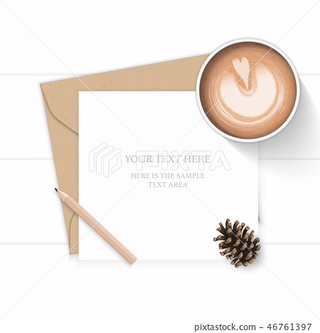 Flat lay top view elegant white paper composition 46761397