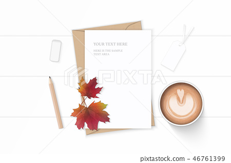 Flat lay top view elegant white paper composition 46761399