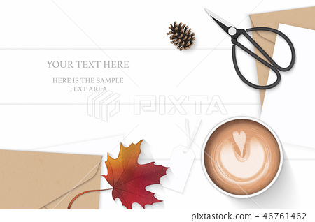 Flat lay top view elegant white paper composition 46761462