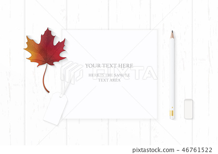 Flat lay top view elegant white paper composition 46761522