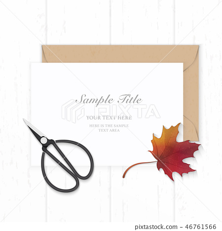 Flat lay top view elegant white paper composition 46761566