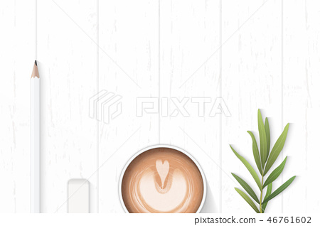Flat lay top view elegant white paper composition 46761602