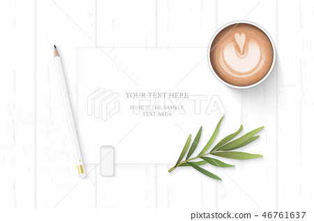 Flat lay top view elegant white paper composition 46761637