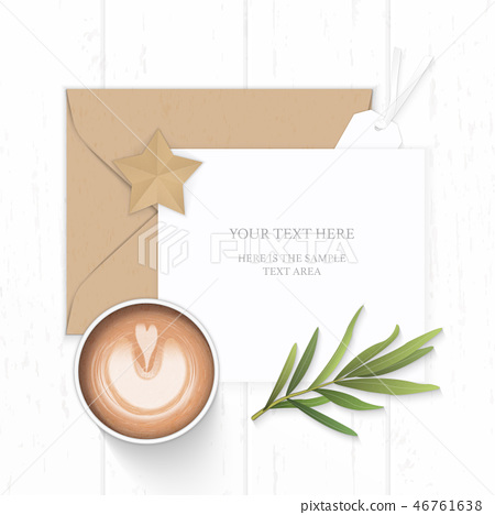Flat lay top view elegant white paper composition 46761638