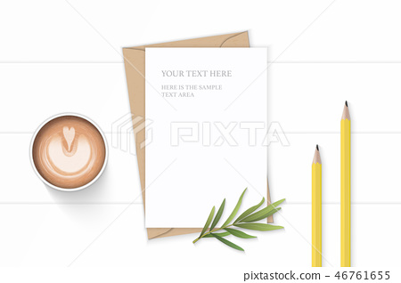 Flat lay top view elegant white paper composition 46761655