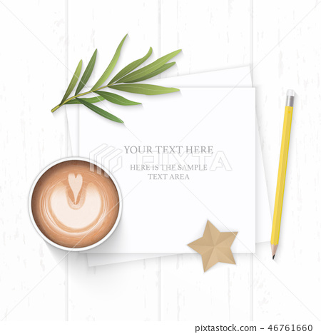 Flat lay top view elegant white paper composition 46761660