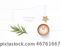 Flat lay top view elegant white paper composition 46761667
