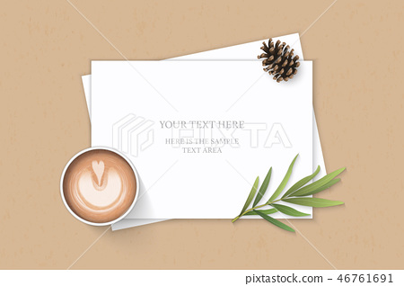 Flat lay top view elegant white paper composition 46761691