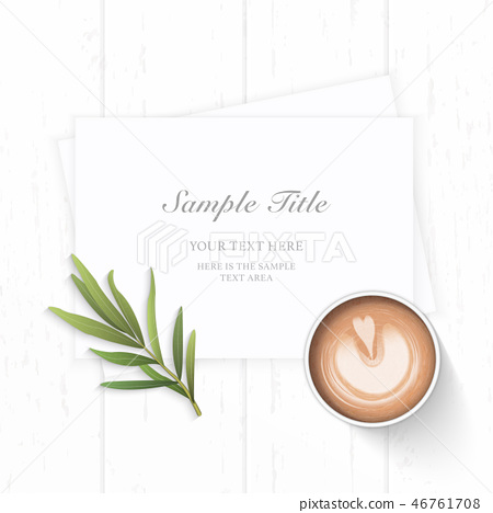 Flat lay top view elegant white paper composition 46761708