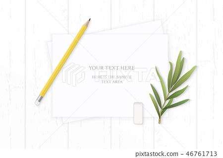 Flat lay top view elegant white paper composition 46761713