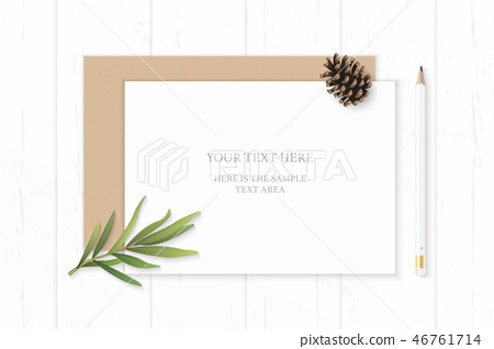 Flat lay top view elegant white paper composition 46761714