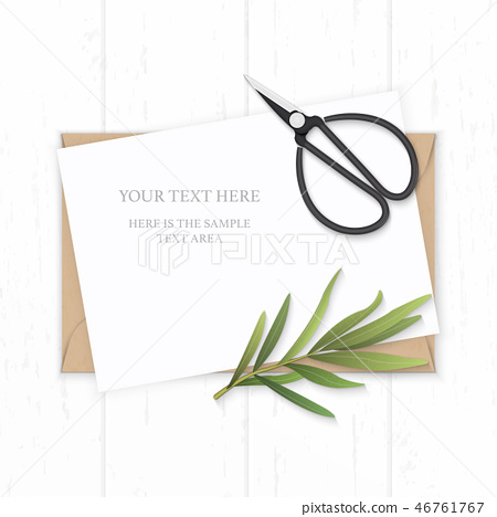 Flat lay top view elegant white paper composition 46761767