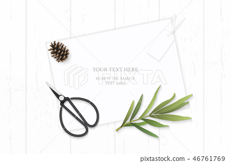 Flat lay top view elegant white paper composition 46761769