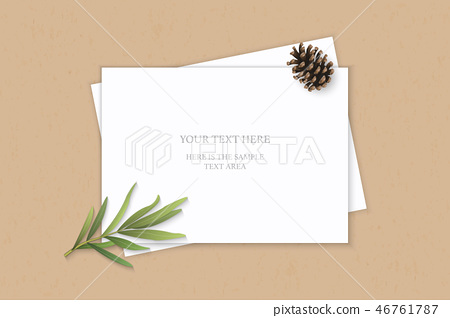 Flat lay top view elegant white paper composition 46761787