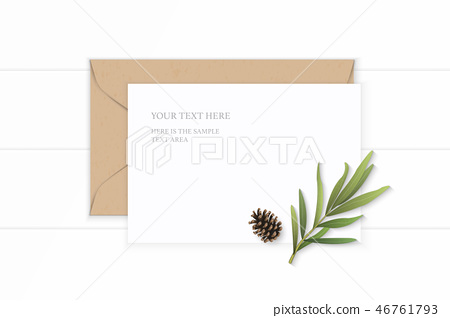Flat lay top view elegant white paper composition 46761793