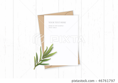 Flat lay top view elegant white paper composition 46761797
