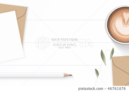Flat lay top view elegant white paper composition 46761876