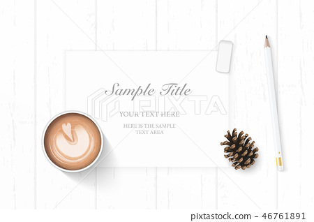 Flat lay top view elegant white paper composition 46761891