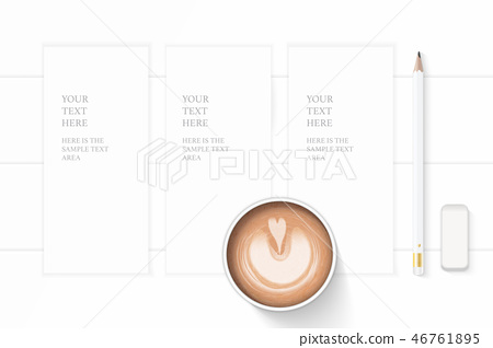 Flat lay top view elegant white paper composition 46761895