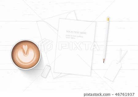 Flat lay top view elegant white paper composition 46761937