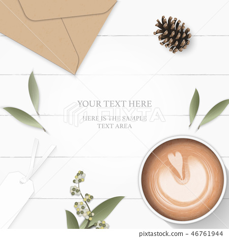 Flat lay top view elegant white paper composition 46761944