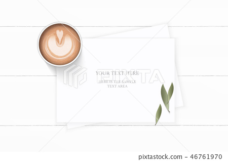 Flat lay top view elegant white paper composition 46761970