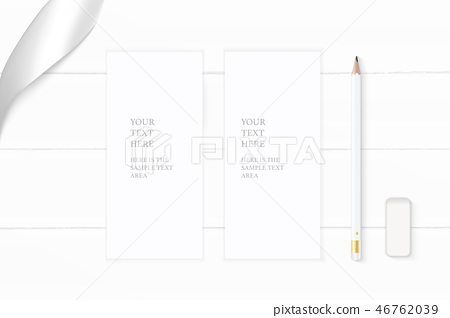 Flat lay top view elegant white paper composition 46762039
