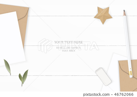 Flat lay top view elegant white paper composition 46762066