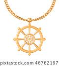 Dharmachakra symbol on golden chain, 3D rendering 46762197