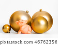 Golden balls pig Chinese New Year traditional 46762356