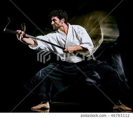 Iaido  Kenjutsu bodoka man isolated black background 46763112