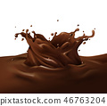 Chocolate splash 3D illustration 46763204