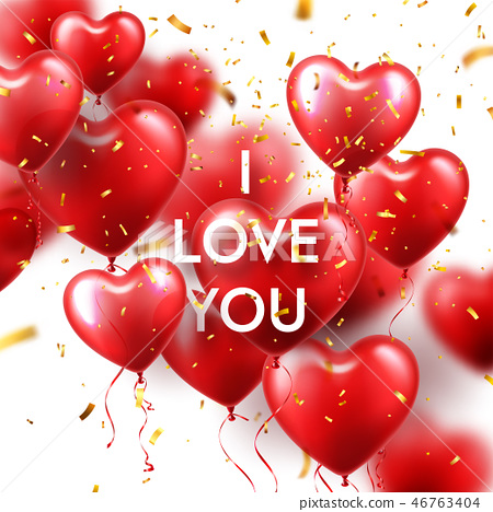 Valentines Day Background With Red Heart Balloons And Golden Confetti. Romantic Wedding Love 46763404