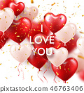 Valentines Day Background With White Red Heart Balloons And Golden Confetti. Romantic Wedding Love 46763406