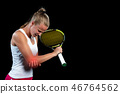 tennis woman player with injury holding the racket on a tennis court 46764562