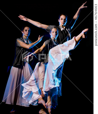 odern ballet dancer dancing woman isolated black bacground 46764663