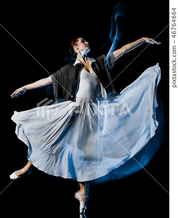 odern ballet dancer dancing woman isolated black bacground 46764664
