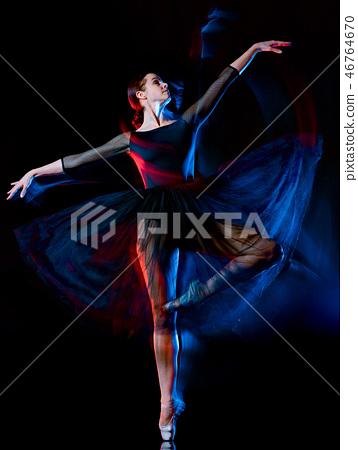 ballerina classical ballet dancer dancing woman isolated black b 46764670